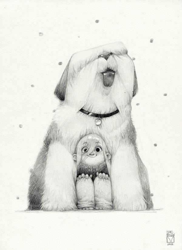 pencil drawing dog