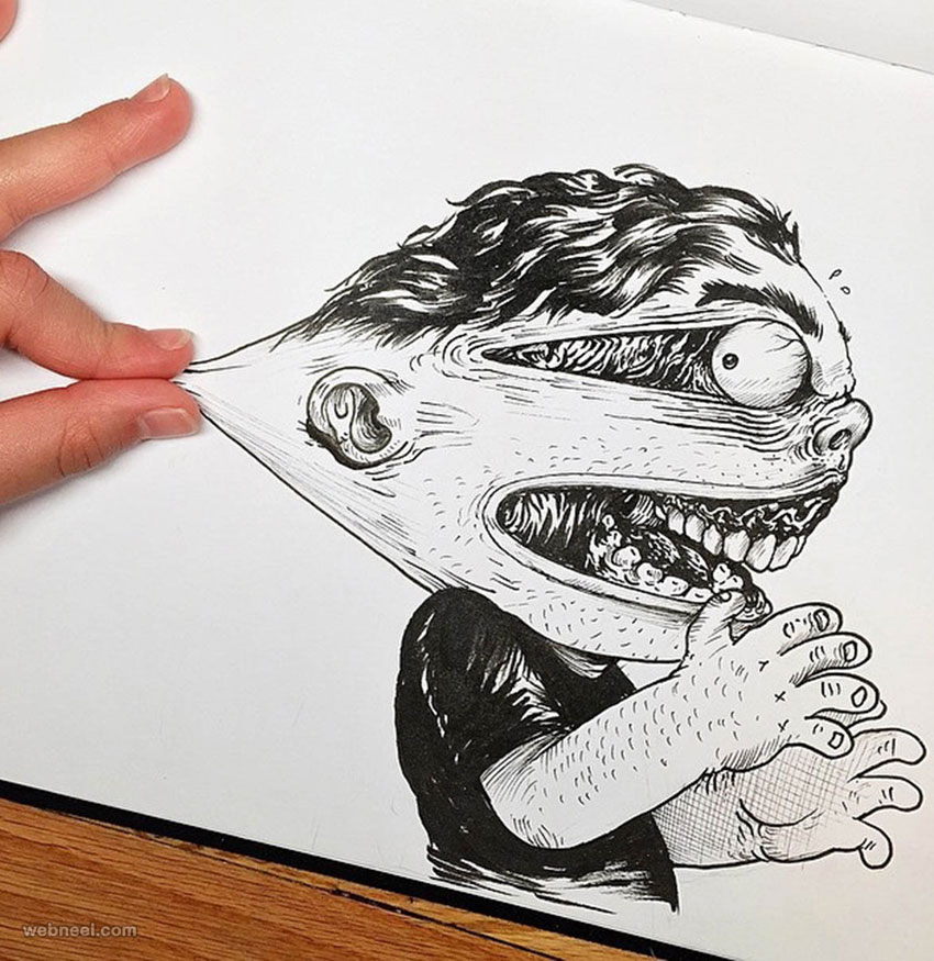funny drawing idea face stretch by alexsolis