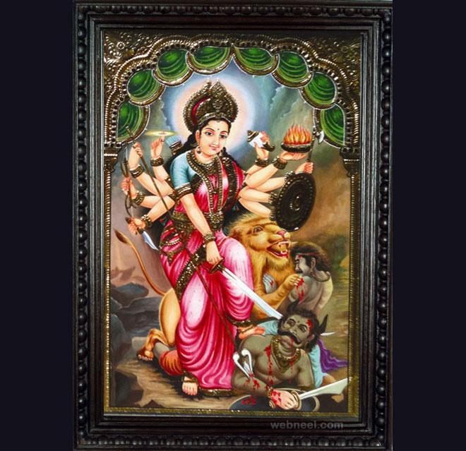 tanjore painting durga by vinayakagallery