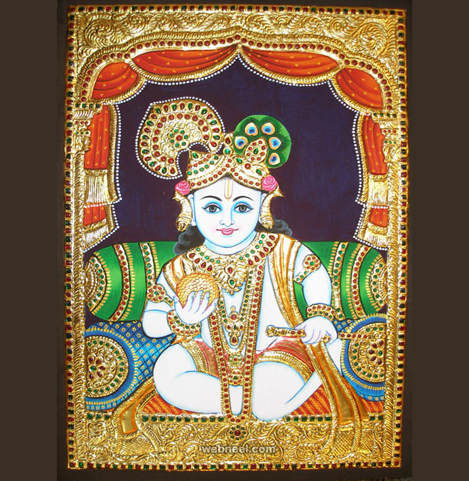 tanjore painting krishna by balajiartgallery