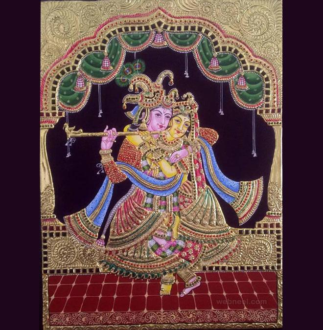 tanjore painting krishna radha by vishwasstudio