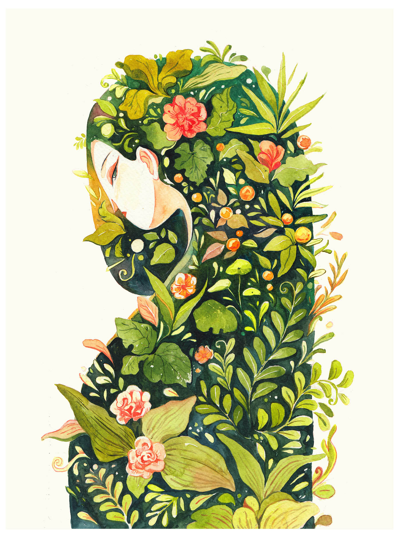 watercolor painting garden woman by kaa illustration