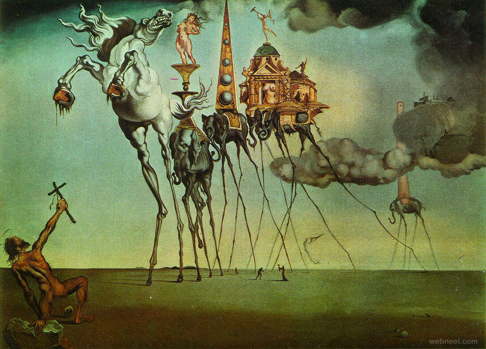 the temptation surreal painting by salvador dali