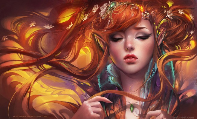 Painting Art Phoenix Fire Fantasy Digital Drawing: Fantasy Woman Digital Painting By Sakimichan 12
