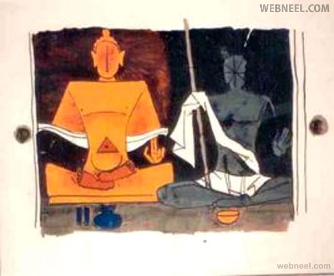 gandhi buddha mf hussain painting