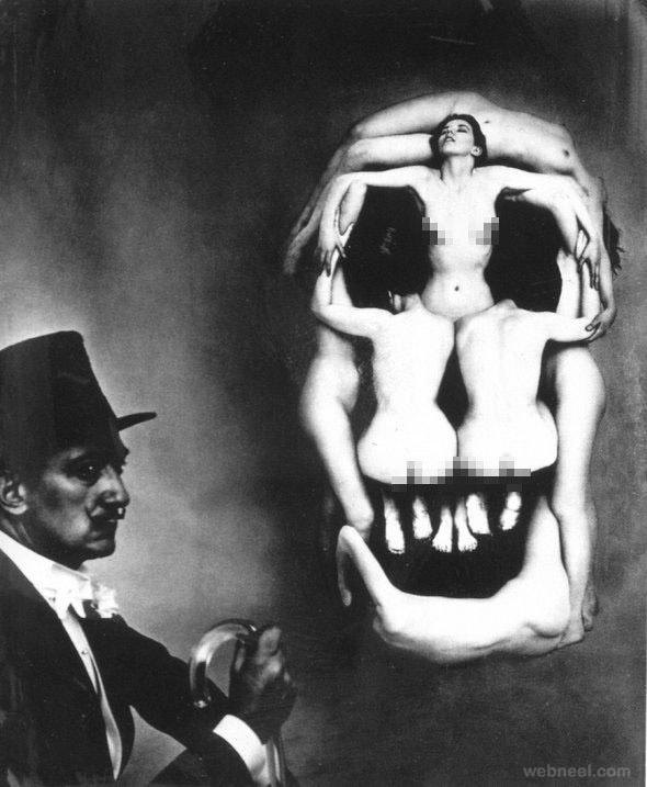 skull optical illusion paintings by salvador dali