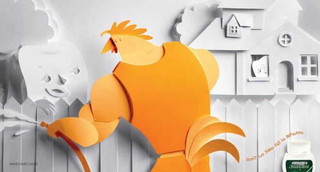 creative ad dental floss paper illustration