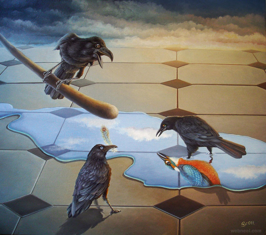 crow surreal art by ohmuller