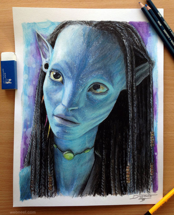 Neytiri avatar color pencil drawing color pencil drawing