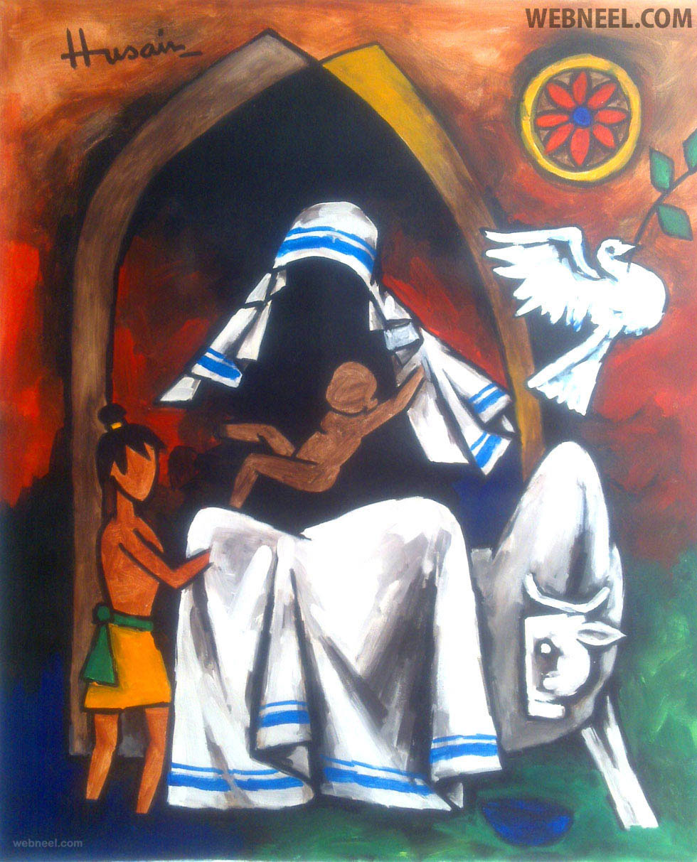 best mf husain painting mother teressa