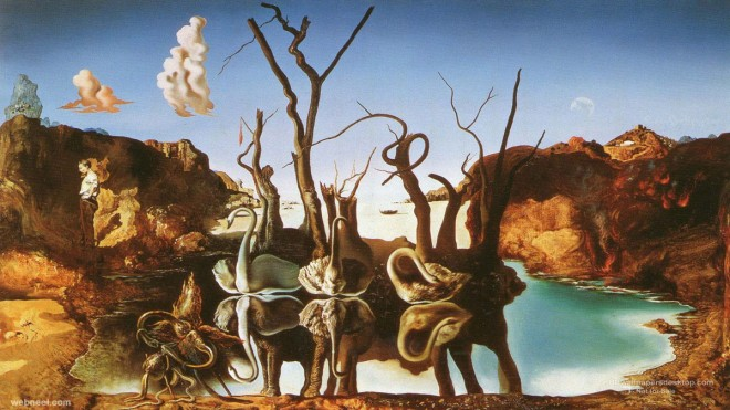 reflection elephants illusion paintings by salvador dali