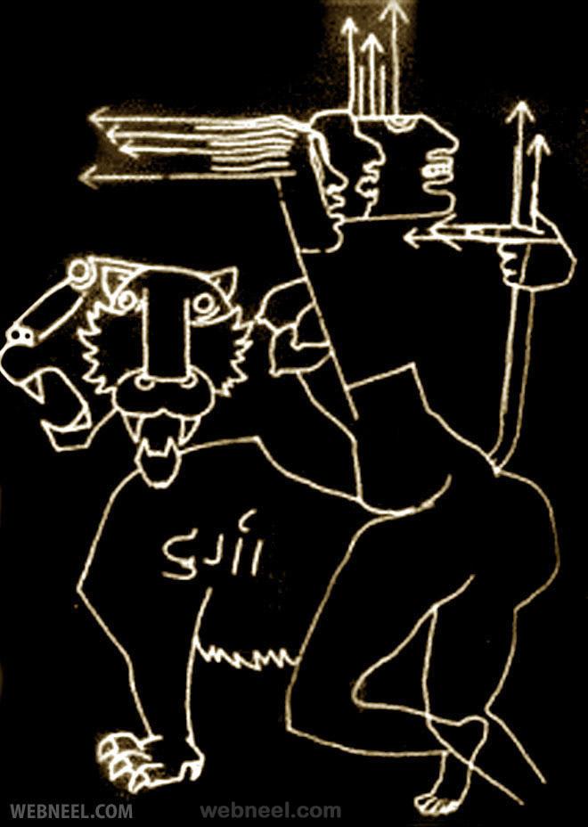 goddess durga mf husain painting controversy
