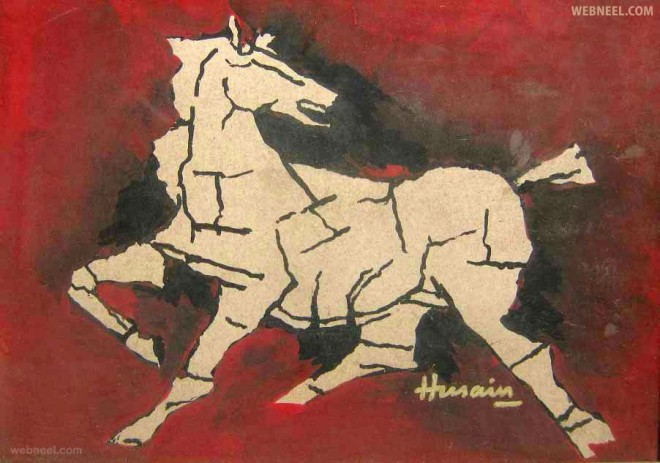 flying horse mf husain painting