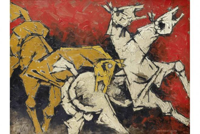 horses mf hussain painting