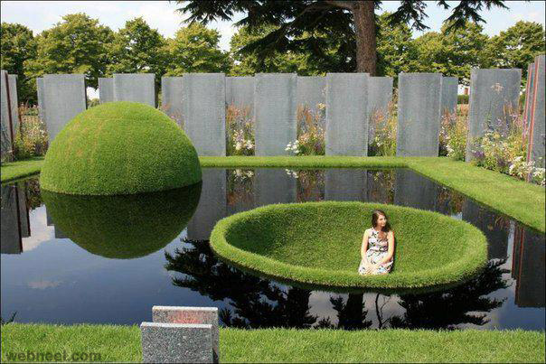 Creative pond design full image for Cool back garden designs