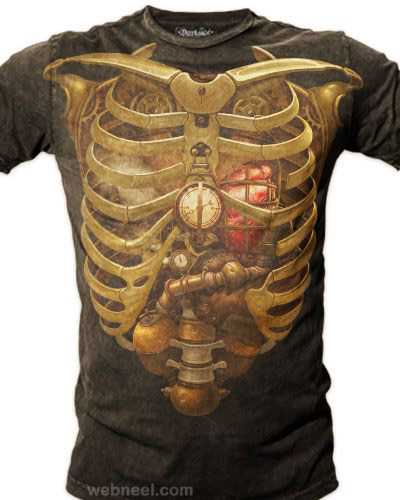 creative tshirt art skelton
