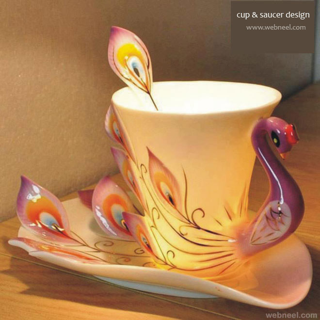 cup and saucer design peacock