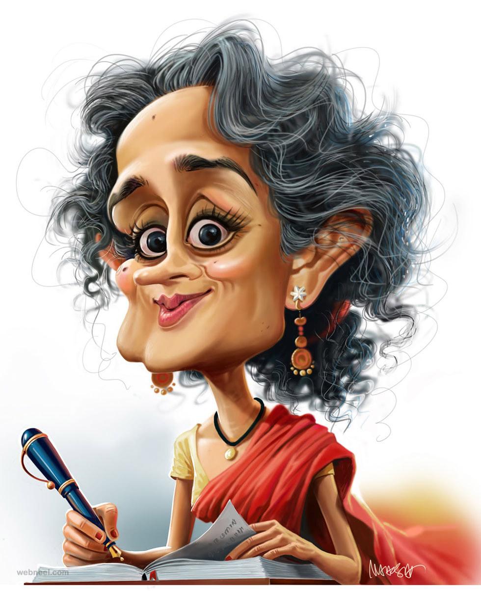 arundhathi roy caricature by mahesh