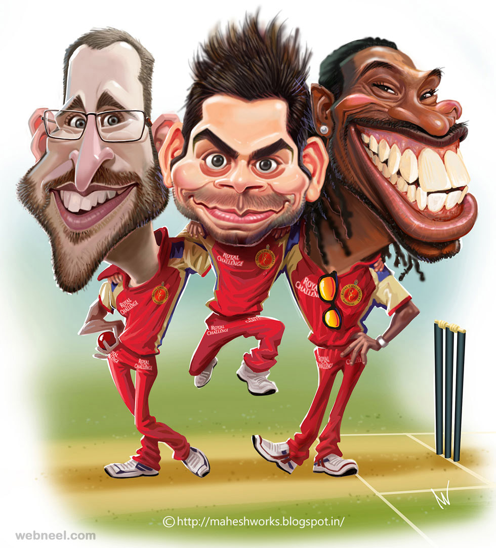 cricket caricature by mahesh
