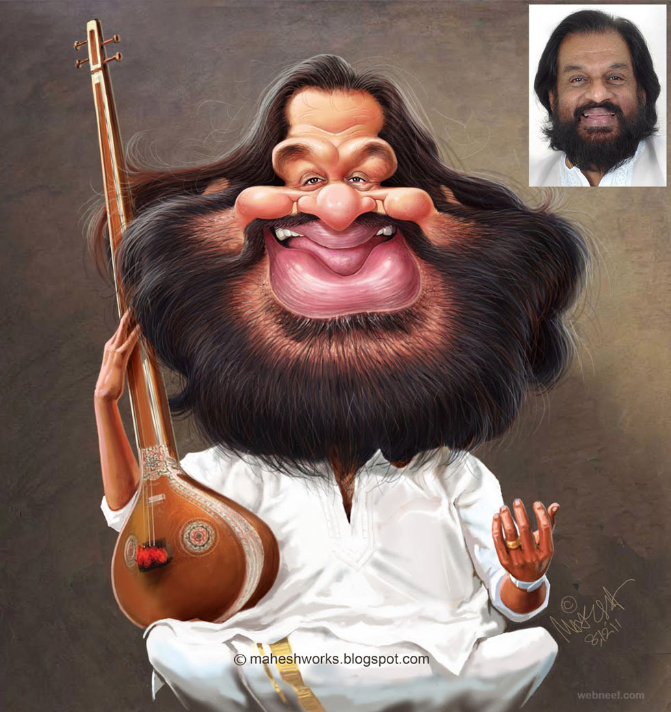 yesudas caricature by mahesh