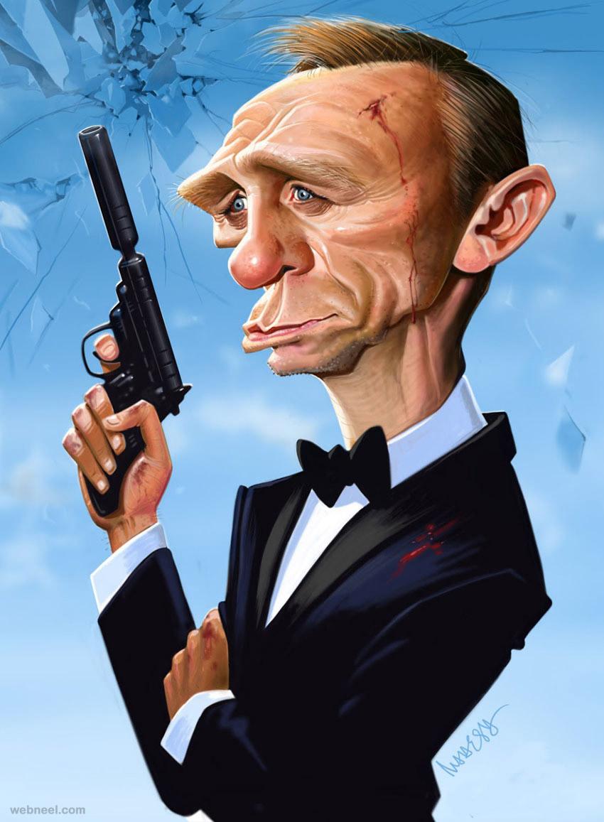 daniel craig caricature by mahesh