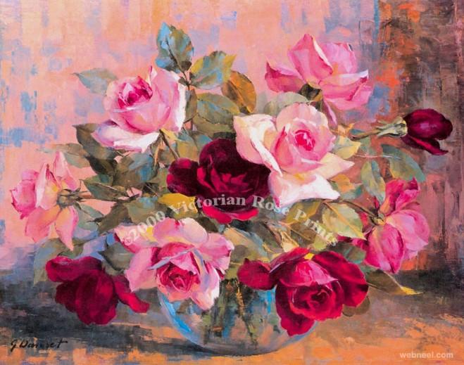 rose painting danset half
