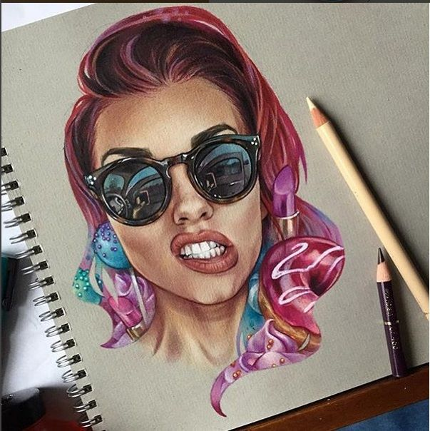 Beautiful woman color pencil drawings color pencil drawings