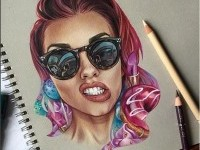 beautiful woman color pencil drawing by bokkei