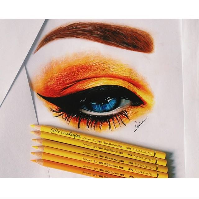 eyes color pencil drawing