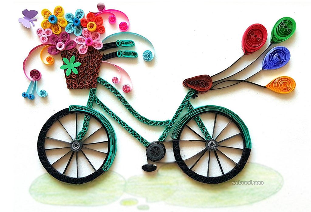 Bicycle quilling art 12 for Quilling paper art