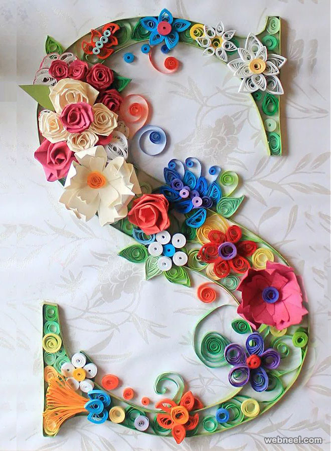 typography text quilling art