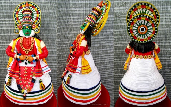 3d quilling art kathakali dancer