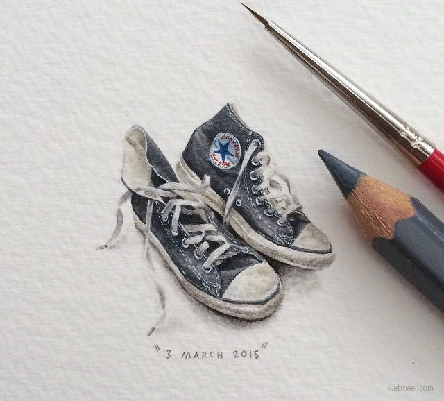 miniature painting artwork shoe