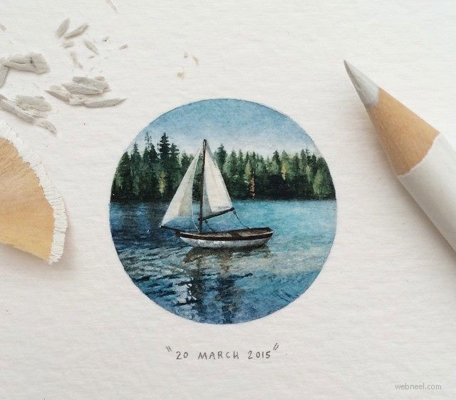 miniature painting artwork boat by lorraine loots