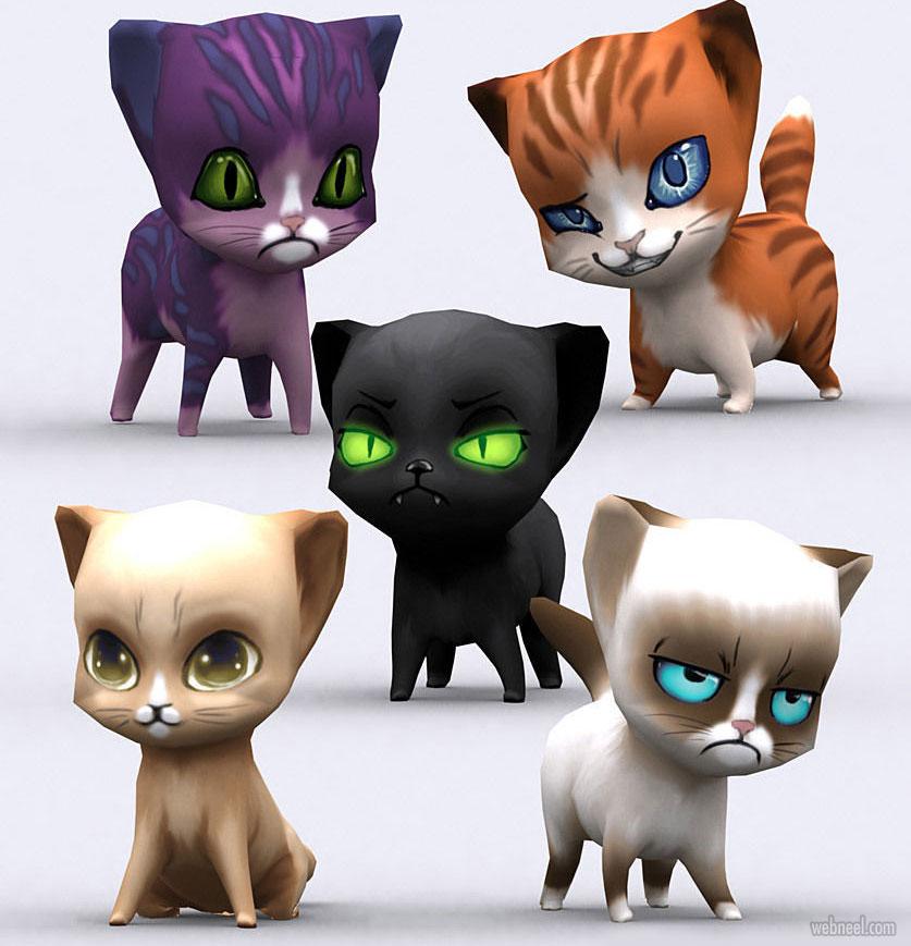 3d model cat animal
