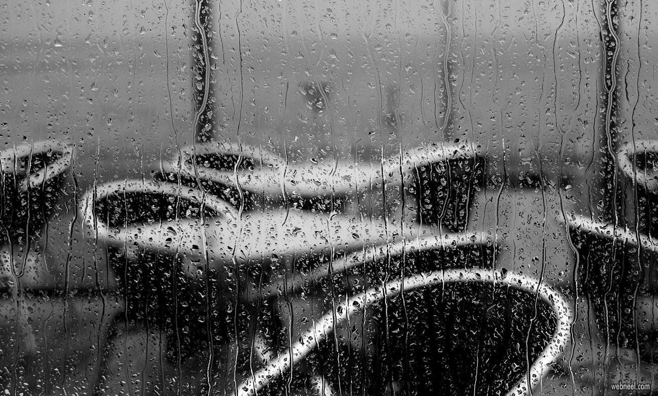 rain photography black and white