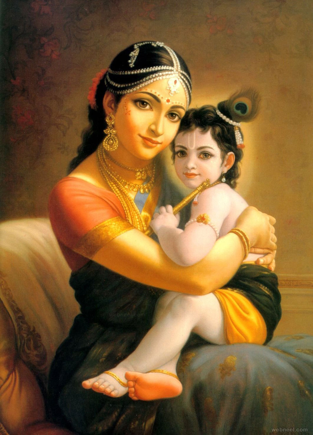 yashoda krishna indian painting