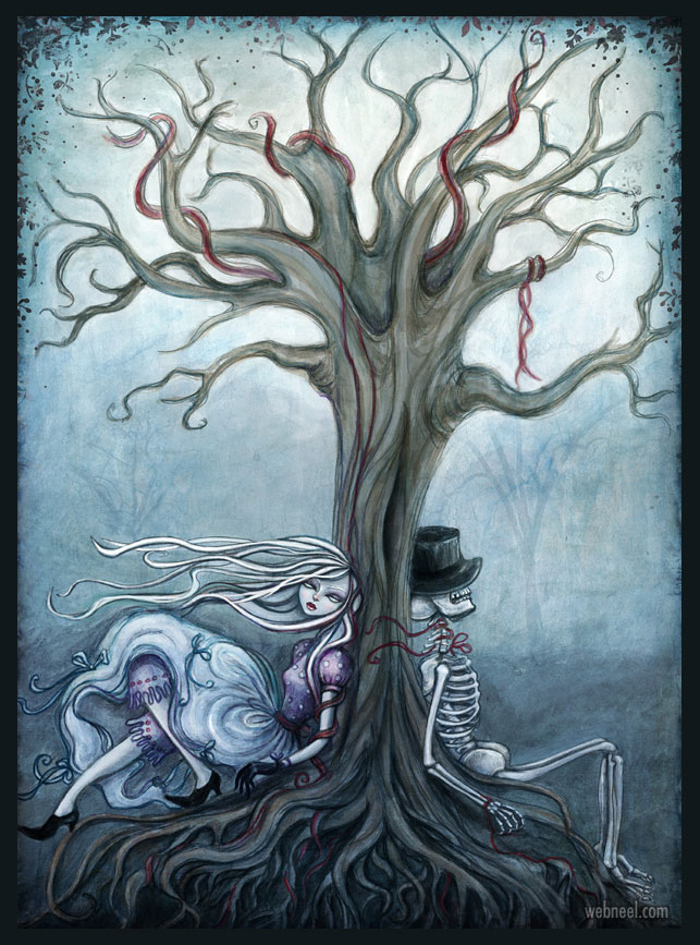 tree painting horror