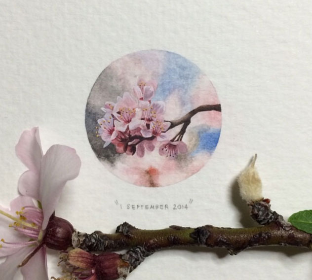 miniature painting artwork flowers
