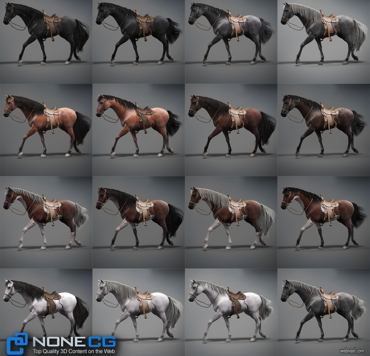 3d model animal horse by nonecg