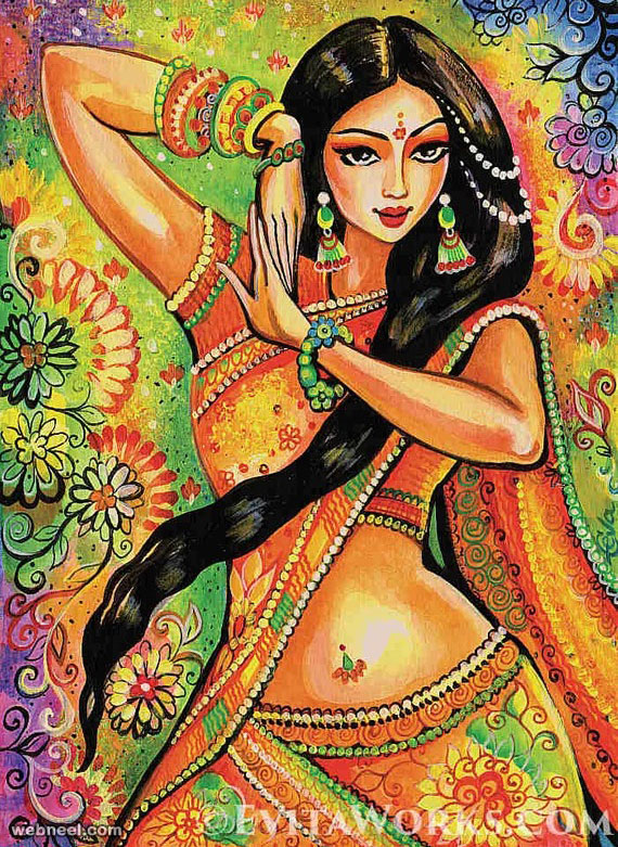 indian painting woman dancer by evitaworks