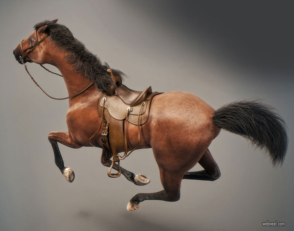 3d model horse animal by nonecg