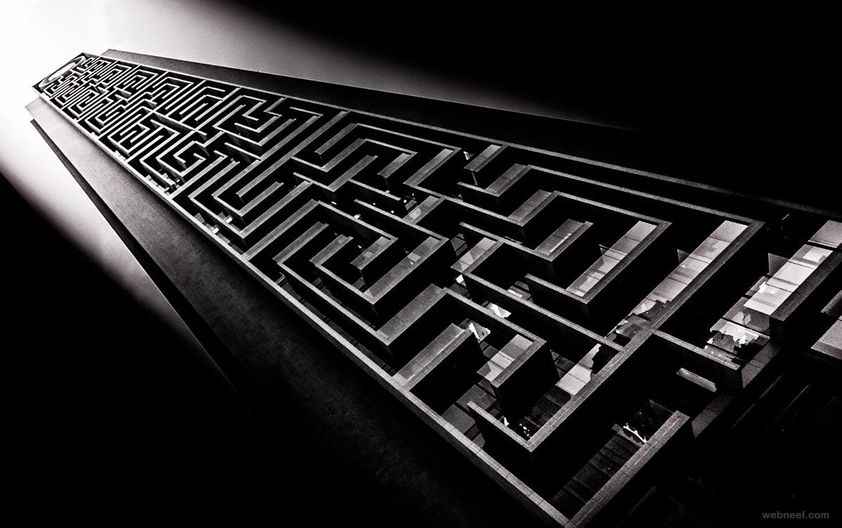 Black and white photography maze tower dubai by shaheen