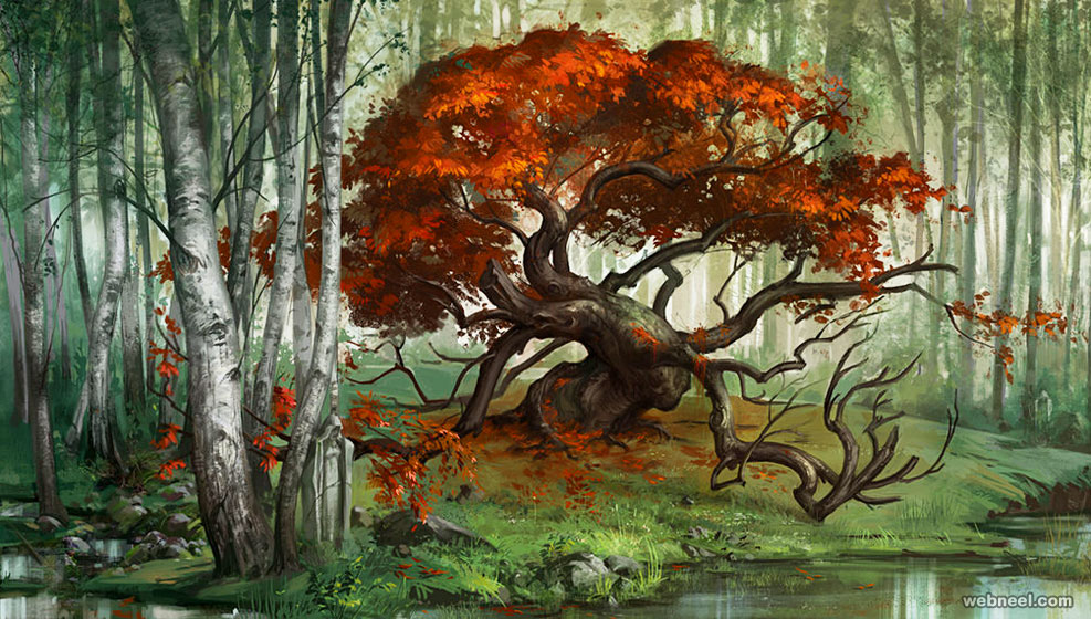 digital tree painting
