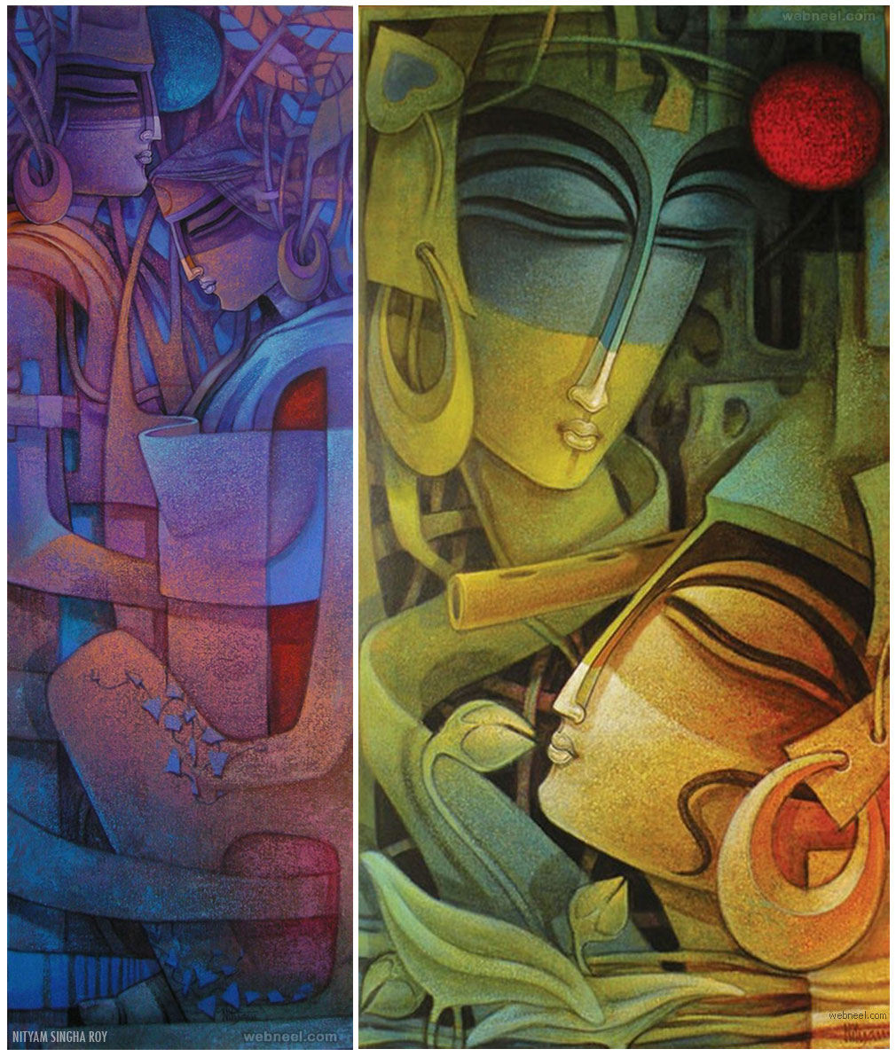 radha krishna indian painting