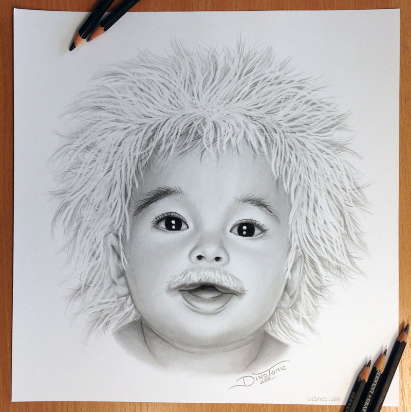 pencil drawing albert einstein baby by atomiccircus