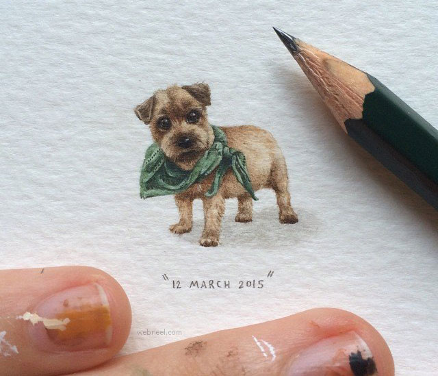 miniature painting artwork dog
