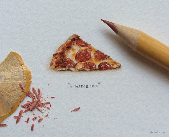miniature painting artwork pizza