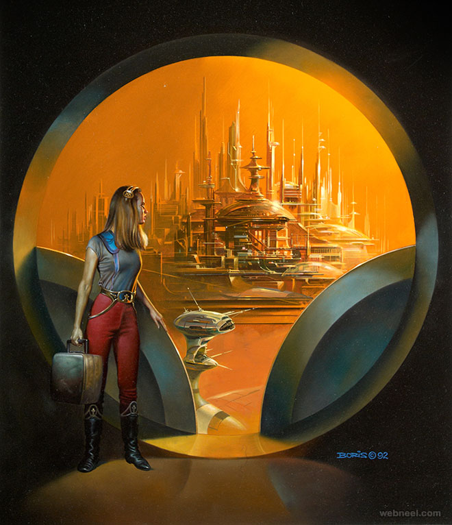 boris painting arriving city
