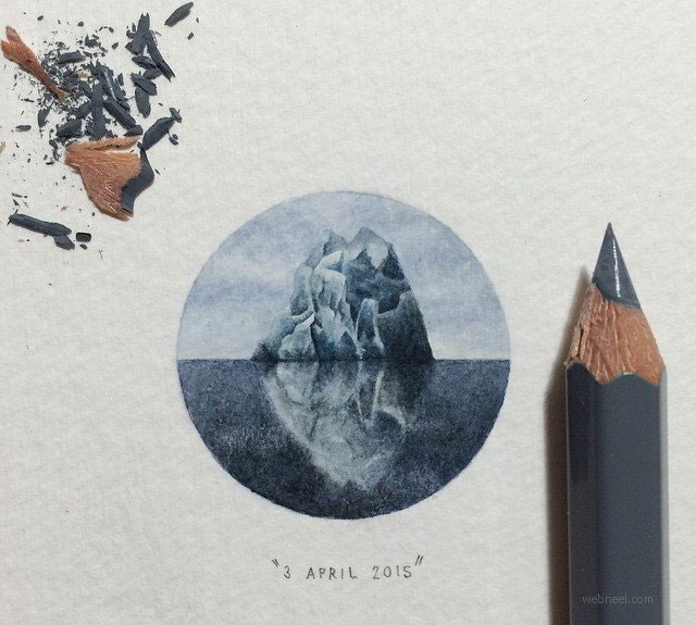 miniature painting artwork mountain by lorraine loots